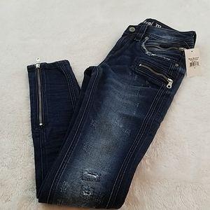 Rock Revival Size 25 Skinny Zip Moto Jeans